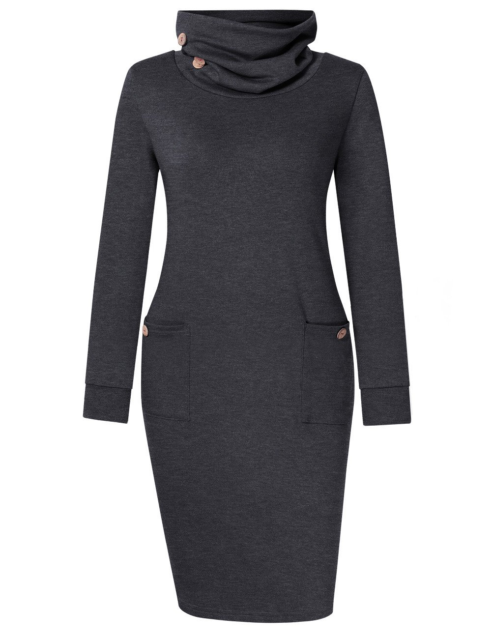 VeryAnn Womens Comfy Cowl Neck Tunic Sweatshirt Dress with Pockets Grey L