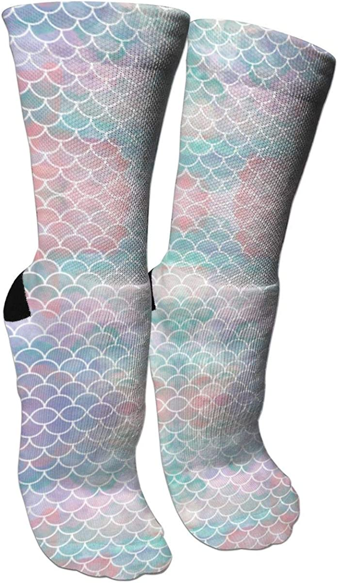 Watercolor Mermaid Scales Crazy Socks Casual Cotton Crew Socks Cute Funny Sock great for sports and hiking