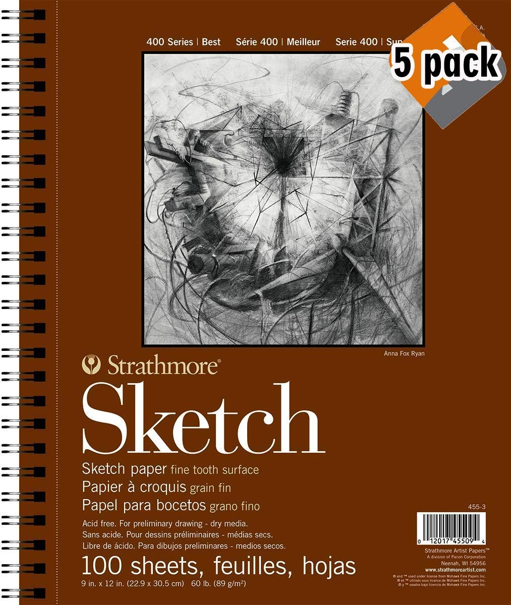 Strathmore 400 Series Sketch Pad, 9''x12'' Wire Bound, 100 Sheets - 5 Pack by Strathmore