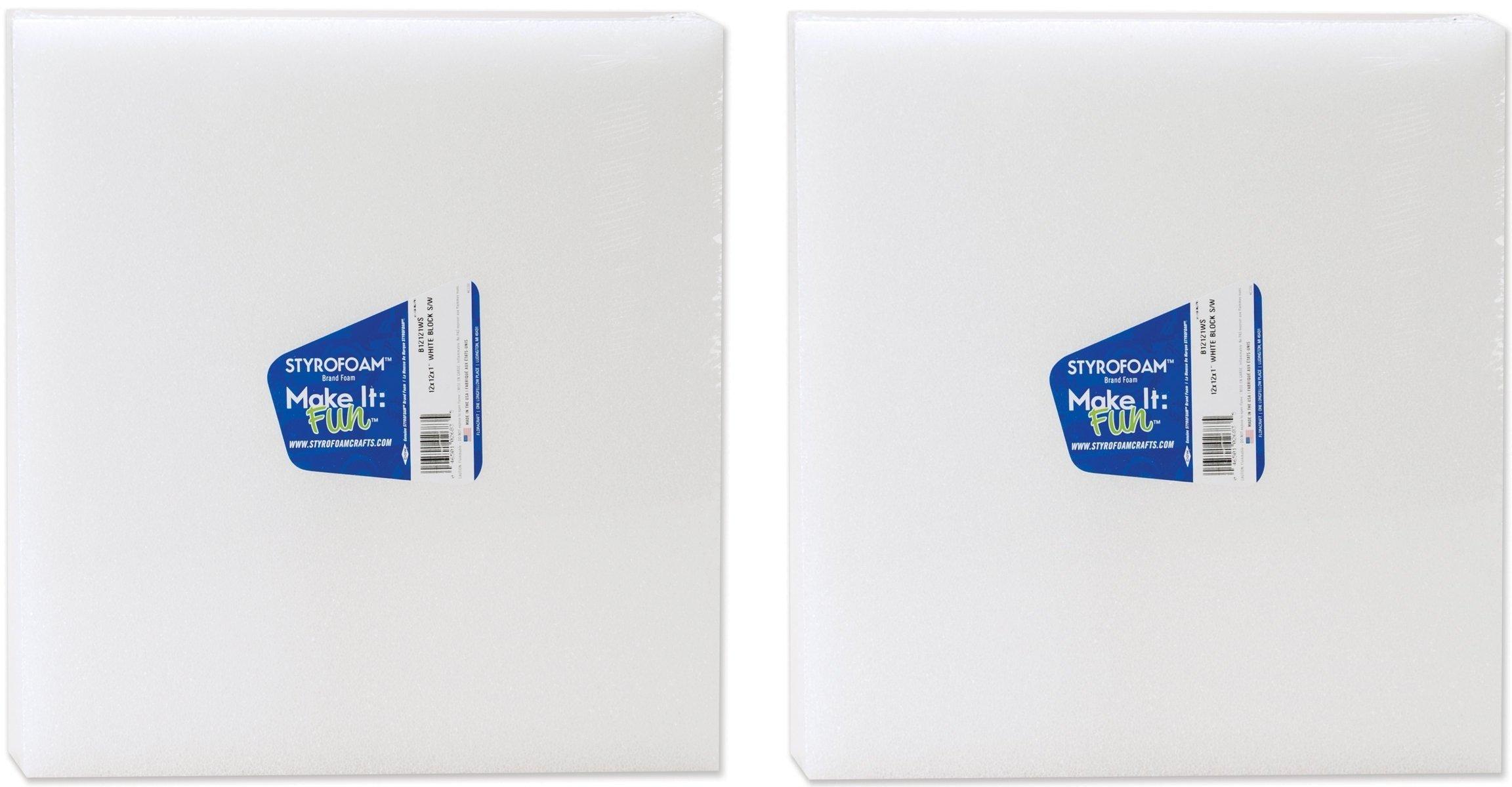 Styrofoam White Block 12 Inch X 12 Inch X 1 Inch (2 Pack)