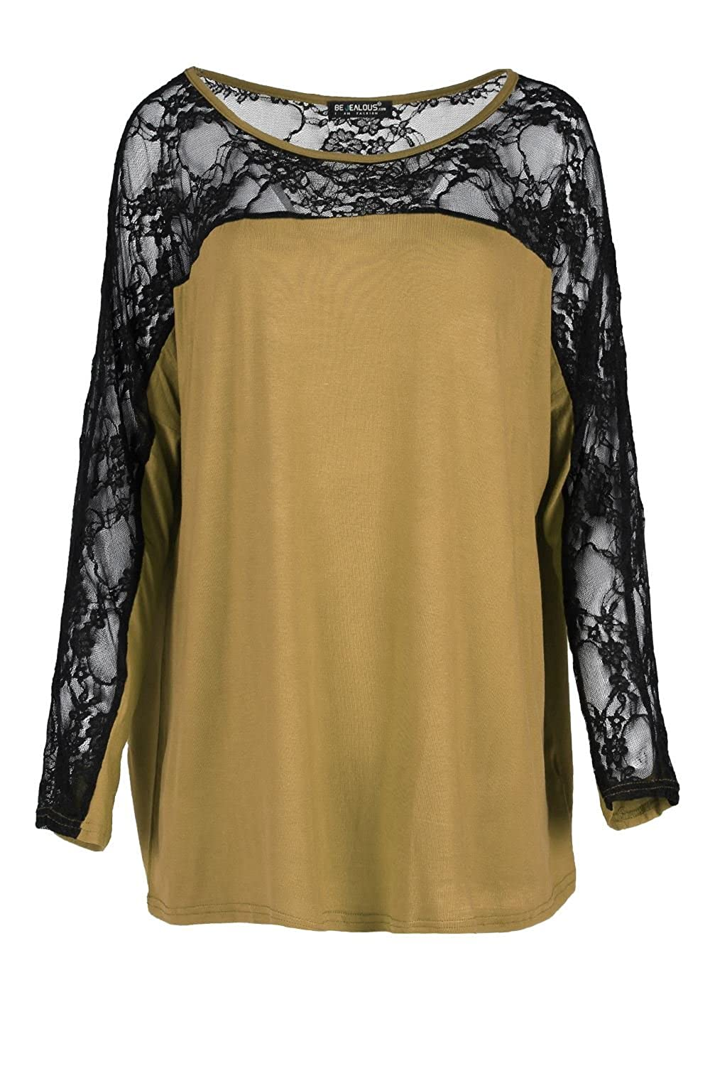 Oops Outlet Women`s Stretchy Baggy Top Jersey Oversized Top Lace Mesh T Shirt