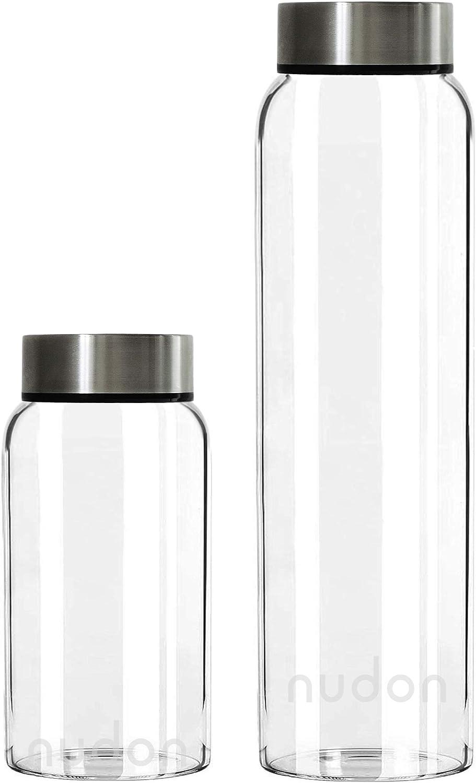nudon Viajes a Prueba de Fugas con Marcas de Tiempo para Mantenerse hidratado Botella de Vidrio de Boca Ancha Actividades Deportivas y al Aire Libre Ideal para el Trabajo sin BPA la Escuela