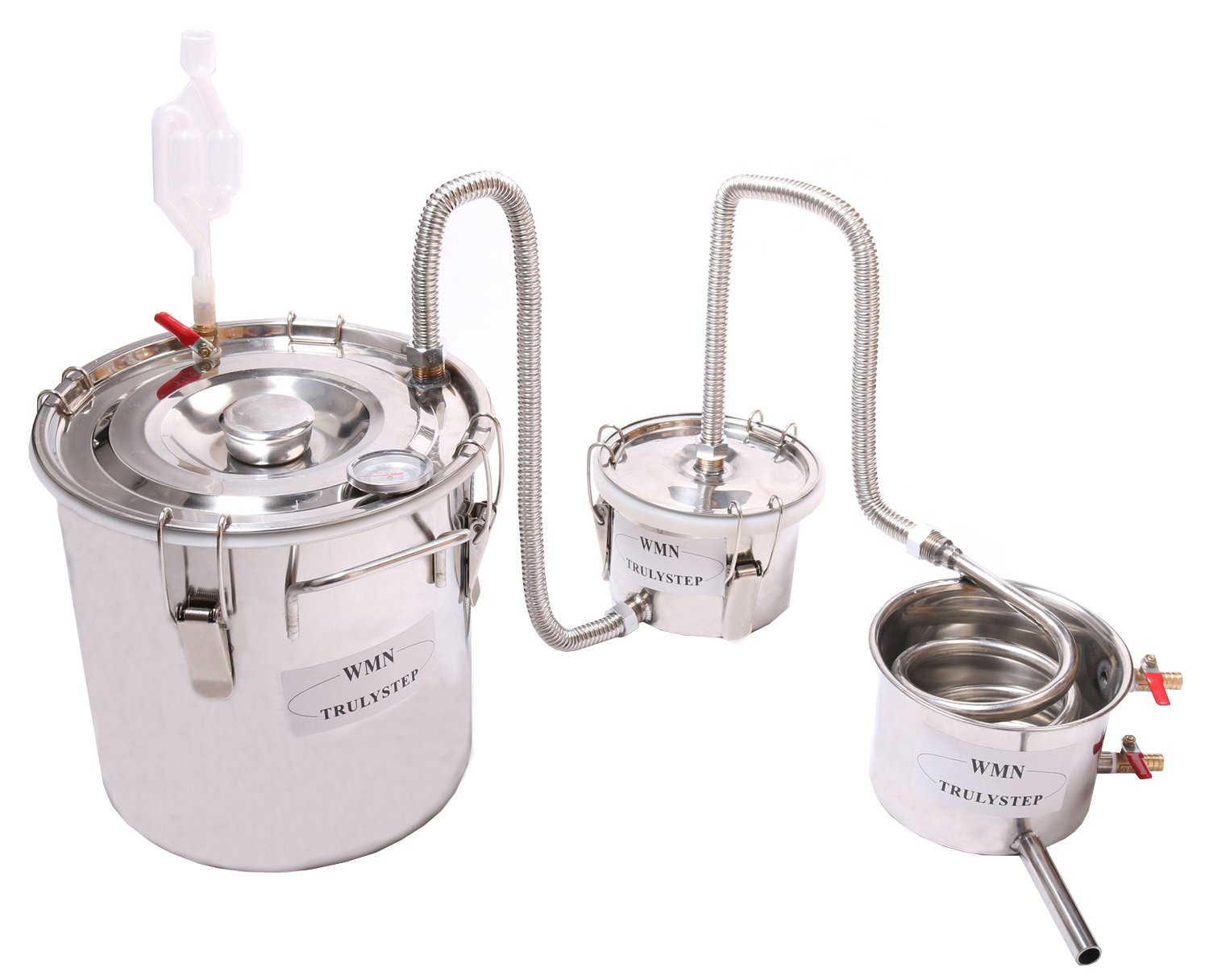 New 3 Pots DIY 3 Gal 12 Litres Alcohol Moonshine Ethanol Still Spirits Stainless Steel Boiler Water Distiller Whiskey Wine Making Kit by WMN_TRULYSTEP (Image #9)