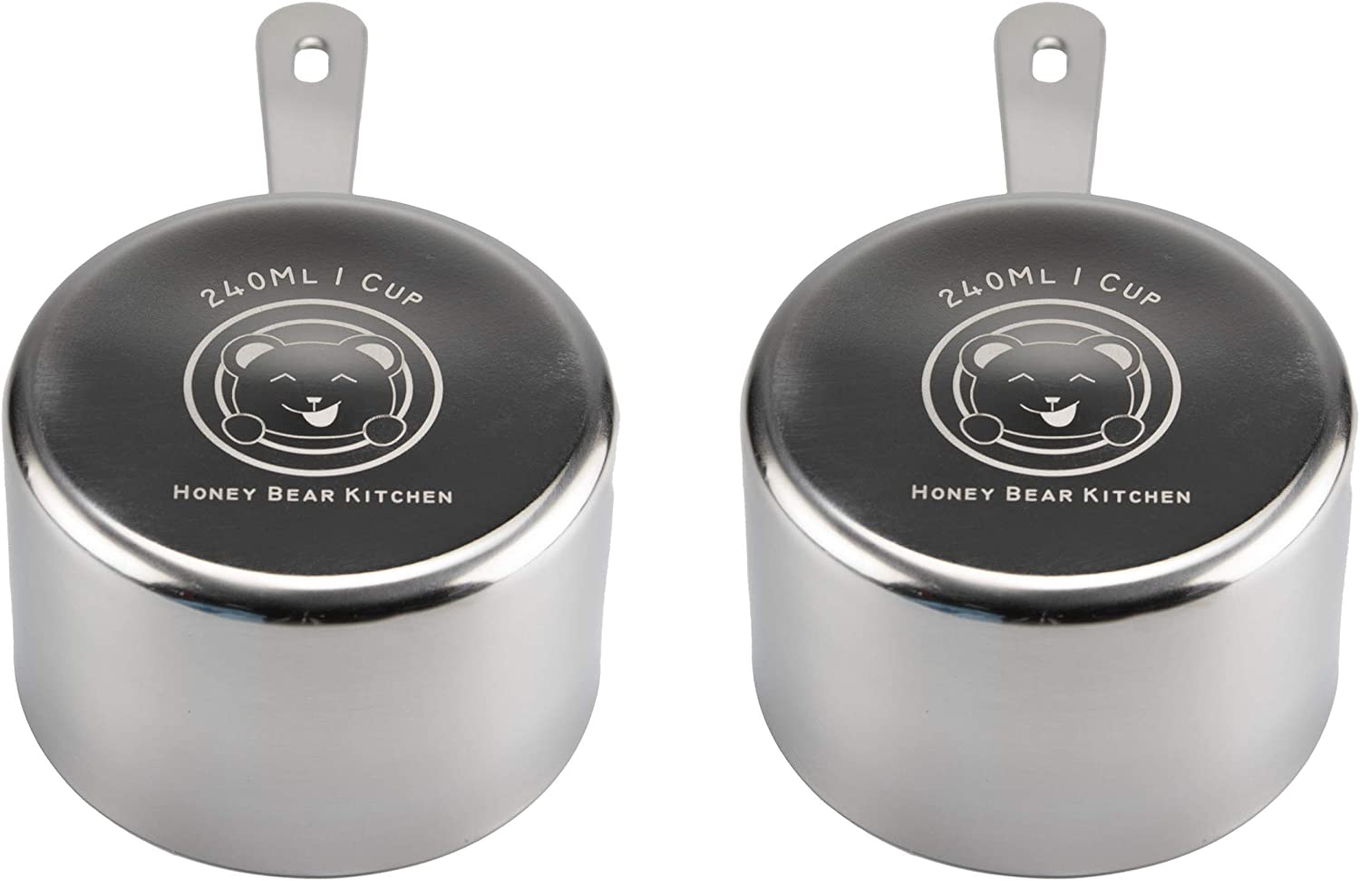 Honey Bear Kitchen 1 Cup 240 ml Measuring Scoop Cups, Polished Stainless Steel (Set of 2)