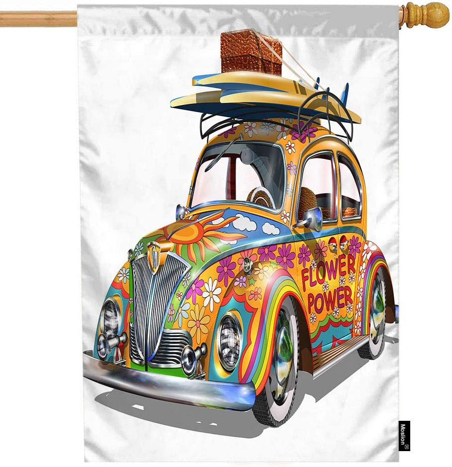 Moslion Car House Flag Hippie Vintage Vehicles Automotive Car with Surfboard Flowers Garden Flags 28x40 Inch Double-Sided Banner Welcome Yard Flag Home Outdoor Decor. Lawn Villa