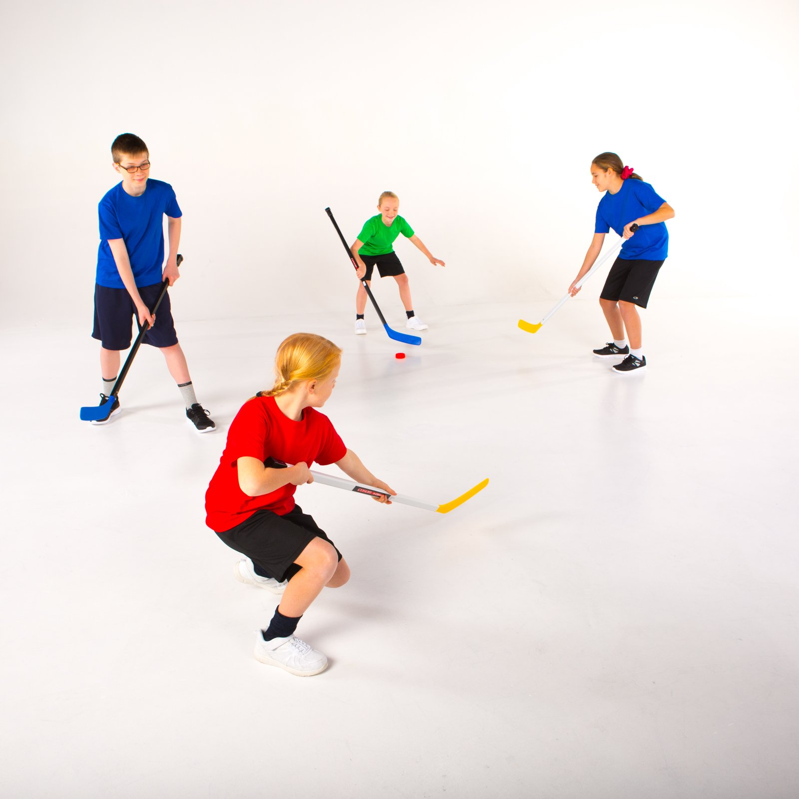 "Cosom Senior Plastic Hockey Sticks for Floor Hockey and Street Hockey, High School Physical Education Equipment, Plastic Hockey Equipment for Practice and Training, 47"" Stick, Standard Shaft, Blue"