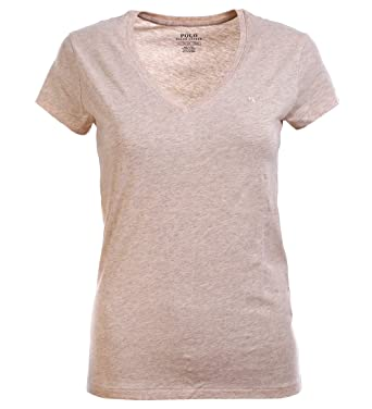 Amazon Com Polo Ralph Lauren Women S Pony Logo V Neck Tee Khaki X