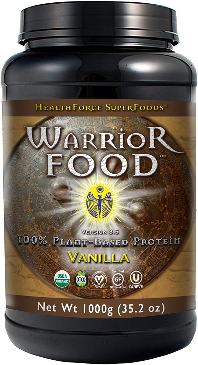 HealthForce SuperFoods Warrior Food, Vegan Protein Powder, Sports Nutrition Alternative, Plant-Based, All Natural, Organic, Gluten-Free, Vanilla, 1000 Grams