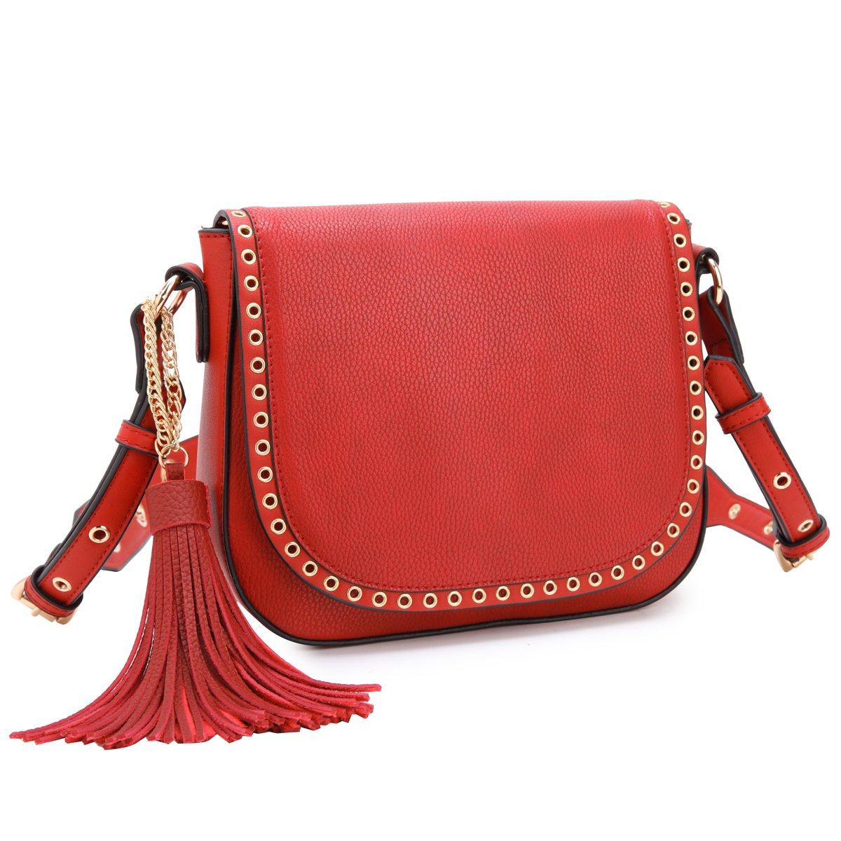 471dcf06937d Tassel Grommets Crossbody Bags for Women Designer Shoulder Purses Vegan  Leather Messenger Bag