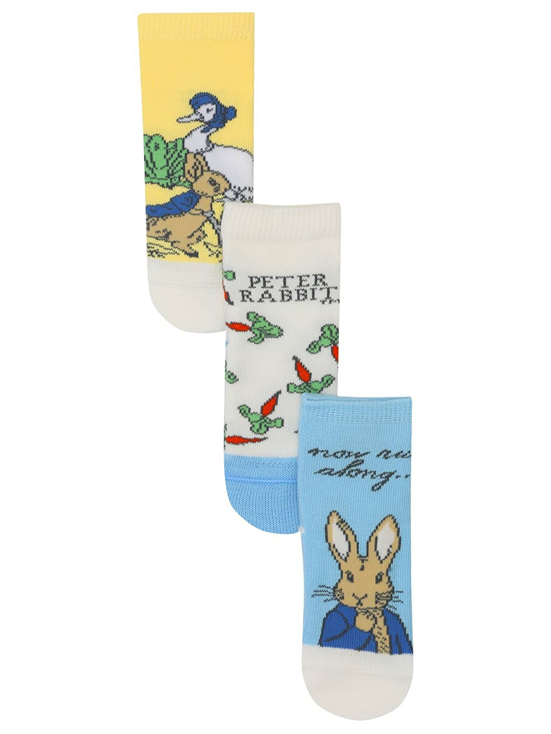 M& Co Peter Rabbit Baby Unisex Character Design Cotton Stretch Ankle Socks Three Pack