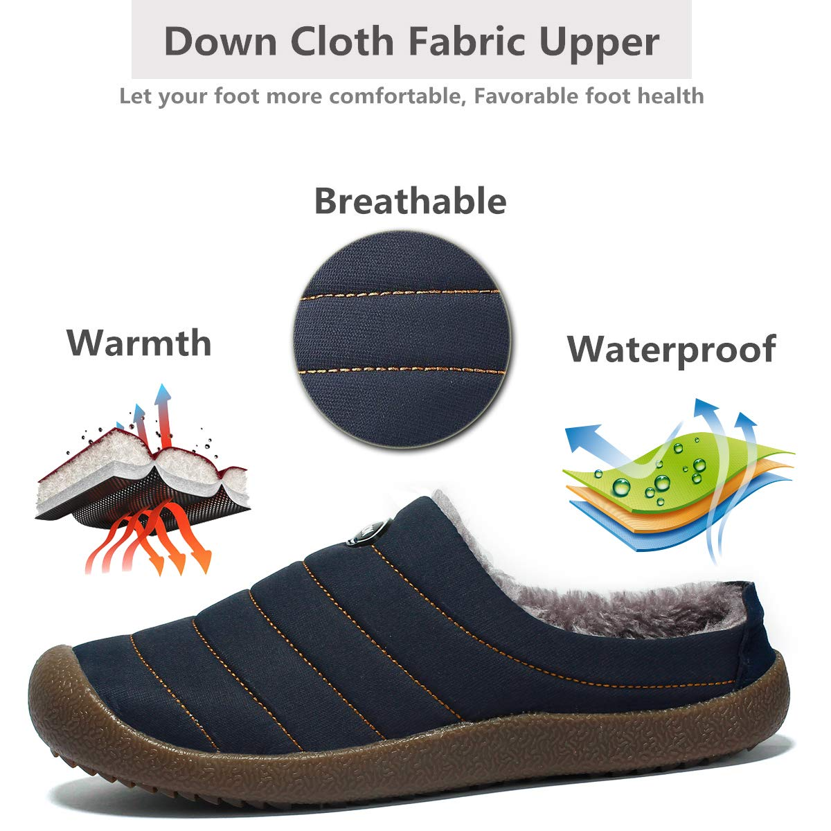 6fa0eb73a4572 YOOEEN Mens Womens Indoor Outdoor Slippers Waterproof Fur Lined House  Slippers Winter Snow Warm Shoes Breathable larger image