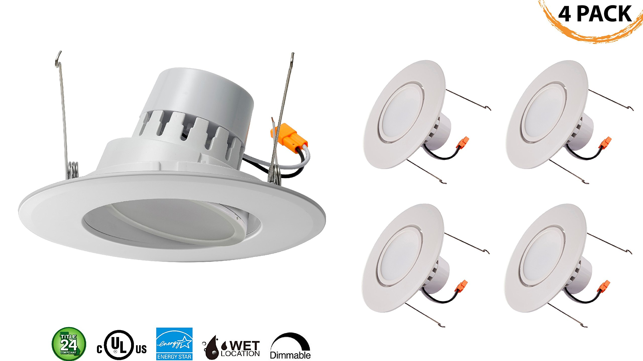 5/6'' Inch LED Gimbal Adjustable Rotating Downlight 16.5W= (100w Equivalent) Damp Location Rated; 25,000 Life Hours; Dimmable to 5%; 5 YR Warranty; 1200 Lumens; DAYLIGHT GLOW 4000K- (4 PACK)