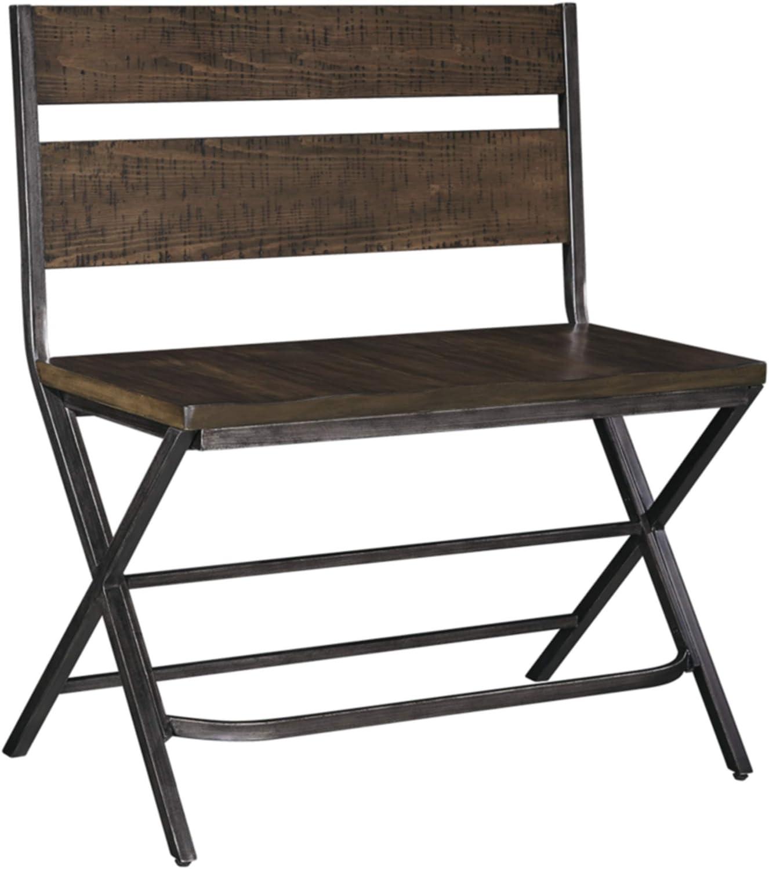 Ashley Furniture Signature Design - Kavara Counter Double Barstool - Distressed Finish - Dark Metallic Metal
