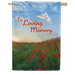 America Forever House Flag - In Loving Memory (Dove), Cemetery Memorial Religious Bereavement Double Sided 28