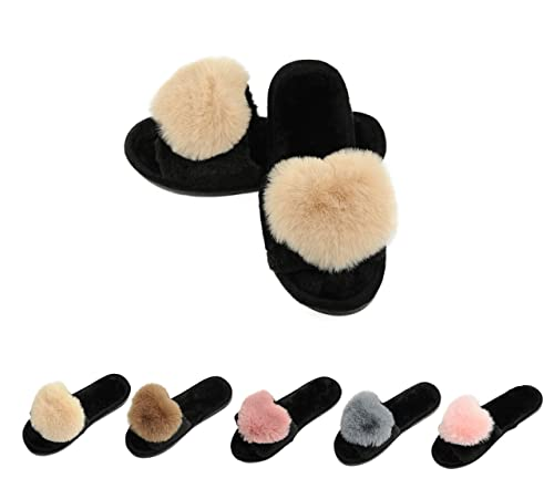 54f127a60a14 Women s Fur Fluffy Furry Fuzzy Slipper Flip Flop Open Toe Plush Cozy House  Sandal Soft Winter