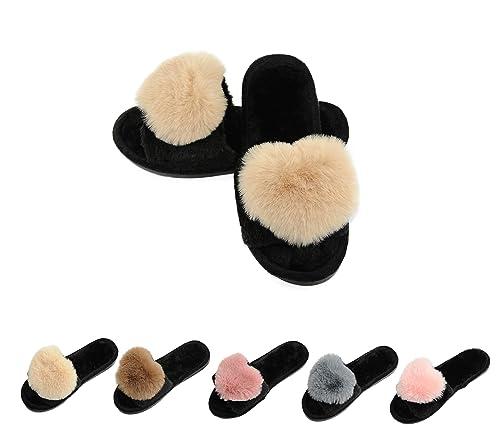 78c87220ba0 Women s Fur Fluffy Furry Fuzzy Slipper Flip Flop Open Toe Plush Cozy House  Sandal Soft Winter