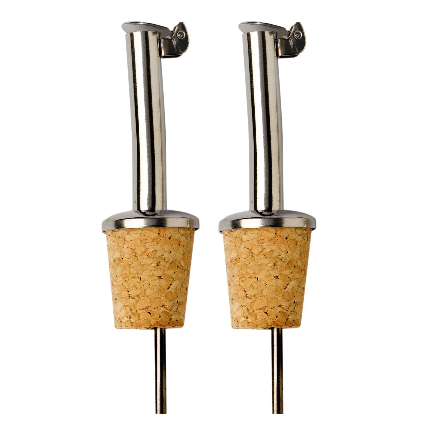 2 Pack : Oil Pourer : Stainless Steel Spout : Cork Stopper : for Oil, Vinegar etc : Flip Top Lid Kilo