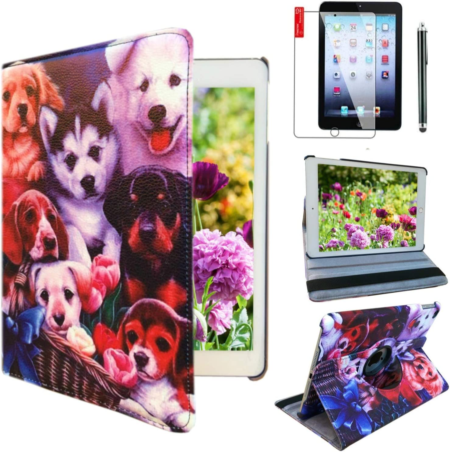 Ipad Case 360 Degrees Rotating Stand Leather Magnetic Smart Cover Case for Ipad 2/3 / 4 Generation Case with Bonus Screen Protector, Stylus and Cleaning Cloth (Dog Design case)