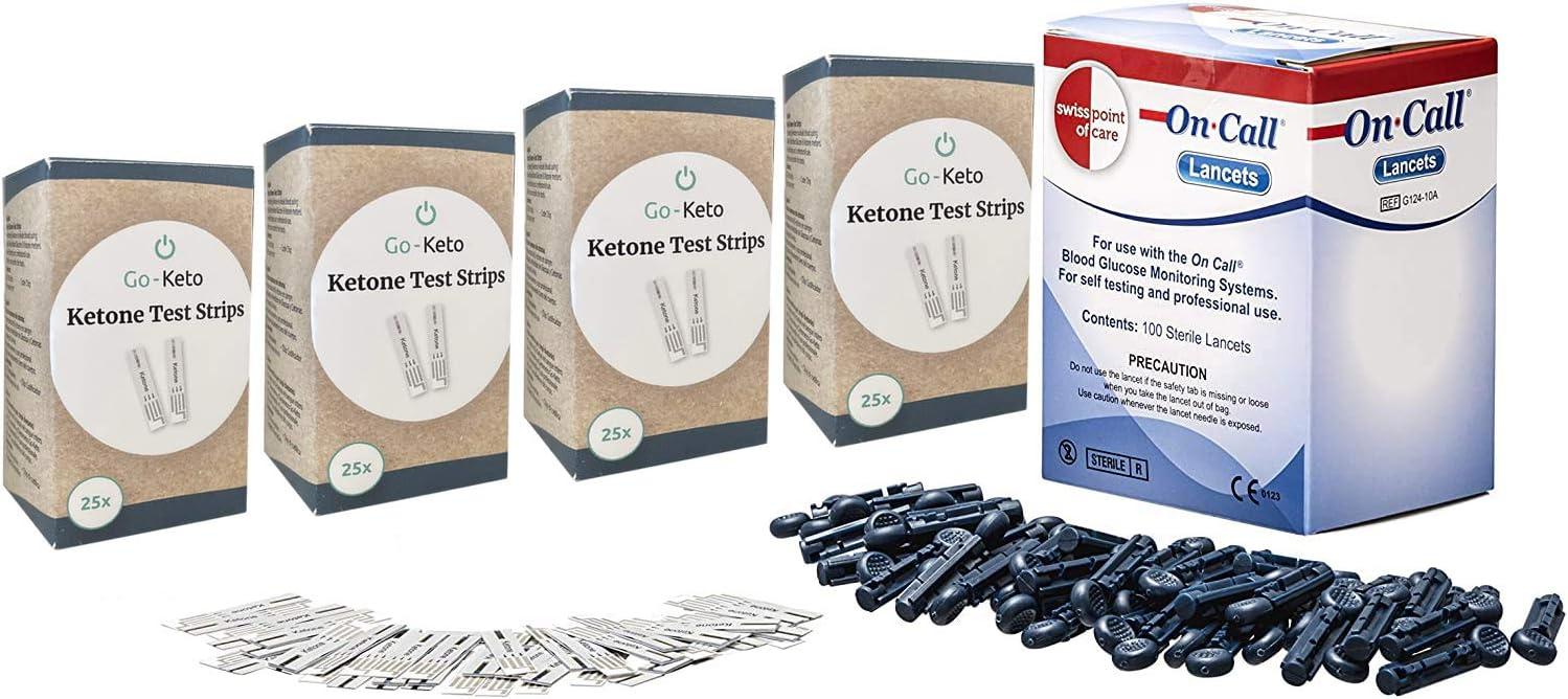 Swiss Point Of Care Paquete de cetonas |100 tiras reactivas para cetonas + 100 instrumentos de punción en un solo paquete | monitorear los cetonas con ...