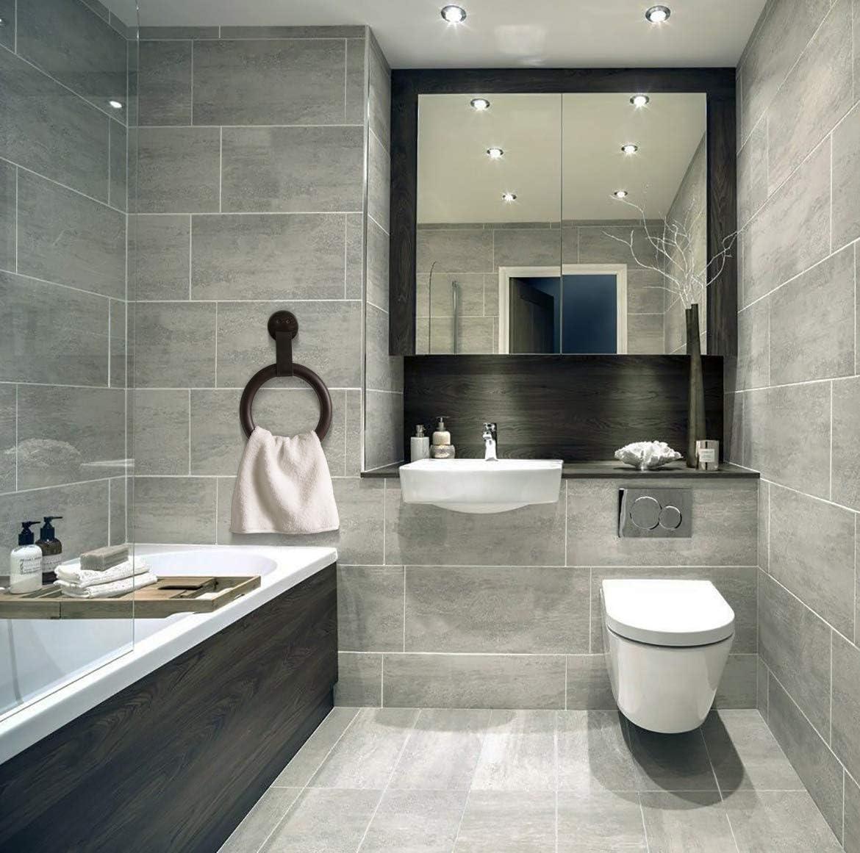 TesLYAR Anneau de serviette mural en bois de fr/êne massif robuste pour porte-serviettes de salle de bain porte-serviettes de cuisine avec fixation murale Noir
