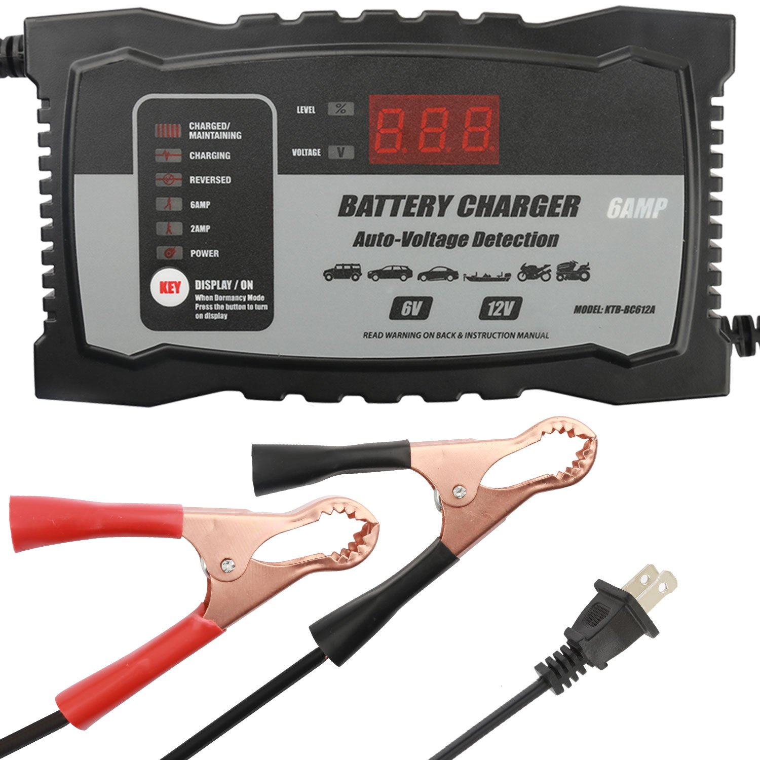 Charger Maintainer 6Amp Battery Charger Auto Voltage Detection 6Volt 12Volt with 2Amp Car Battery Charger Float Charger Maintainer for Lead Acid Battery by Aoprofree