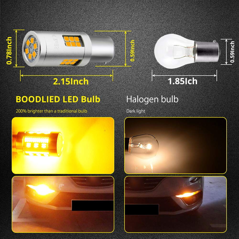 Boodlied 20Watts 1156 LED Bulb Newest 9~32V 2800Lumens Super Bright 3030 30-SMD Chipsets P21WY 1141 BAU15S LED Bulb Replacement For Backup Reverse Lights,Turn Signal Lights,2-Pack White