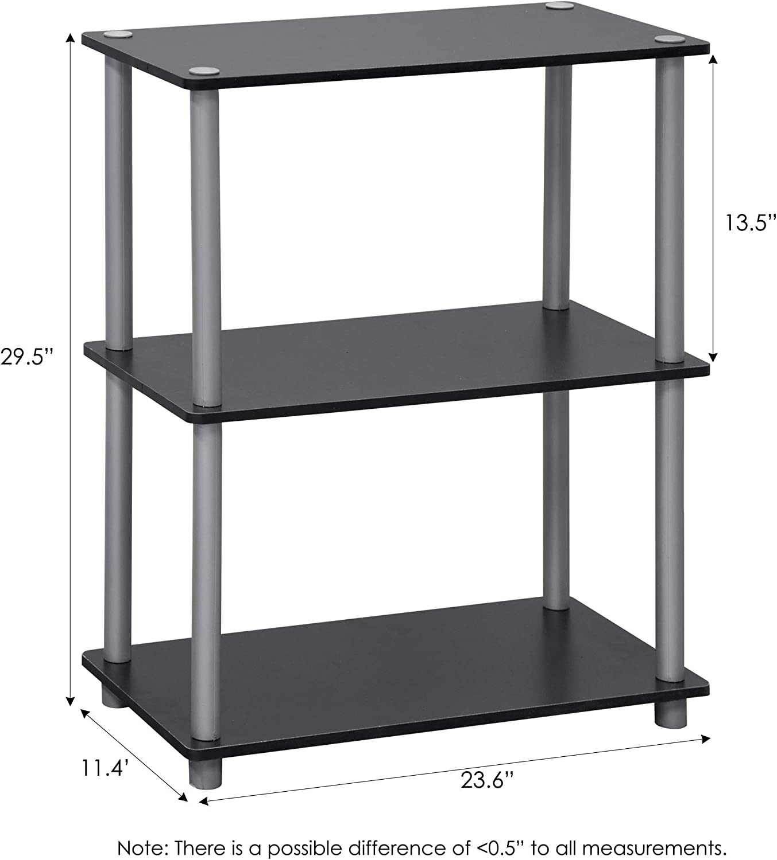 Furinno Scaffali senza Attrezzi Black//Grey 3 livelli