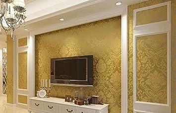 Wall Paper Textured Glitter Metallic Damask Flocking Non woven