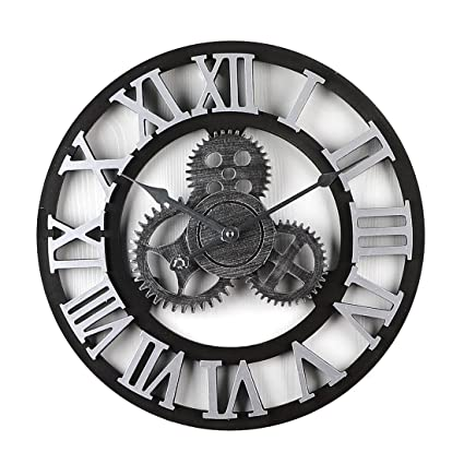 Mecotech Reloj Pared Vintage, 40cm Grande Madera Engranajes Silencioso Reloj de Pared (Números Romanos