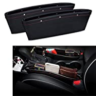 2 Set PU Leather Car Pocket Organizer Seat Console Gap Filler Side - ( Black )