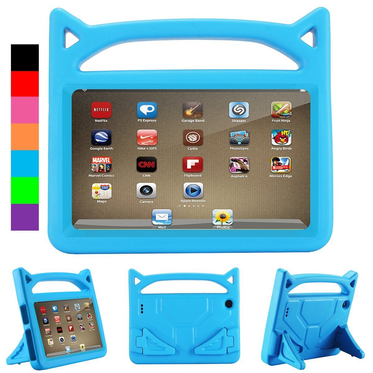 F i r e 7 Tablet Case, Mr. Spades - Light Weight Shock Proof Handle Kid –Proof Cover Kids Case for A m a z o n F i r e 7 Tablet (5th Generation, 2015 Release and 7th Generation, 2017 Release)