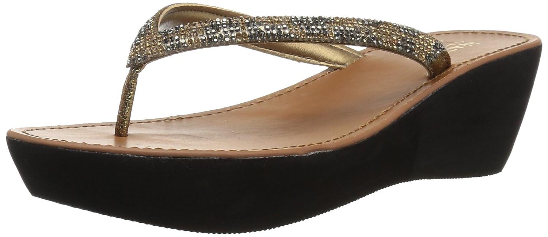 Kenneth Cole REACTION Women's Fine Sun Gltizy Platform Thong Wedge Sandal B077QSGZ52 6.5 B(M) US|Medal Gold