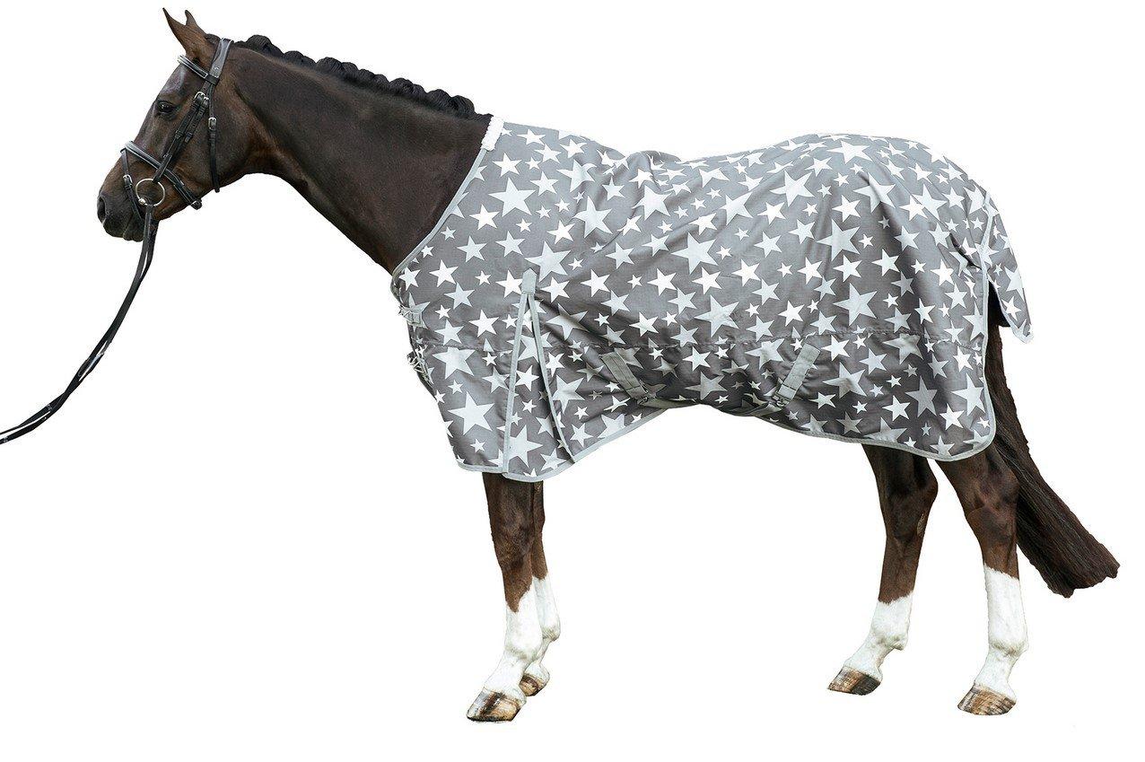 Grey back length 165 cm grey back length 165 cm Hkm Stars 600D Turnout Blanket 300g Cotton Wool Filled
