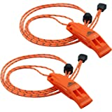 LuxoGear Emergency Whistles with Lanyard Safety Whistle Survival Shrill Loud Blast for Kayak Life Vest Jacket Boating Fishing