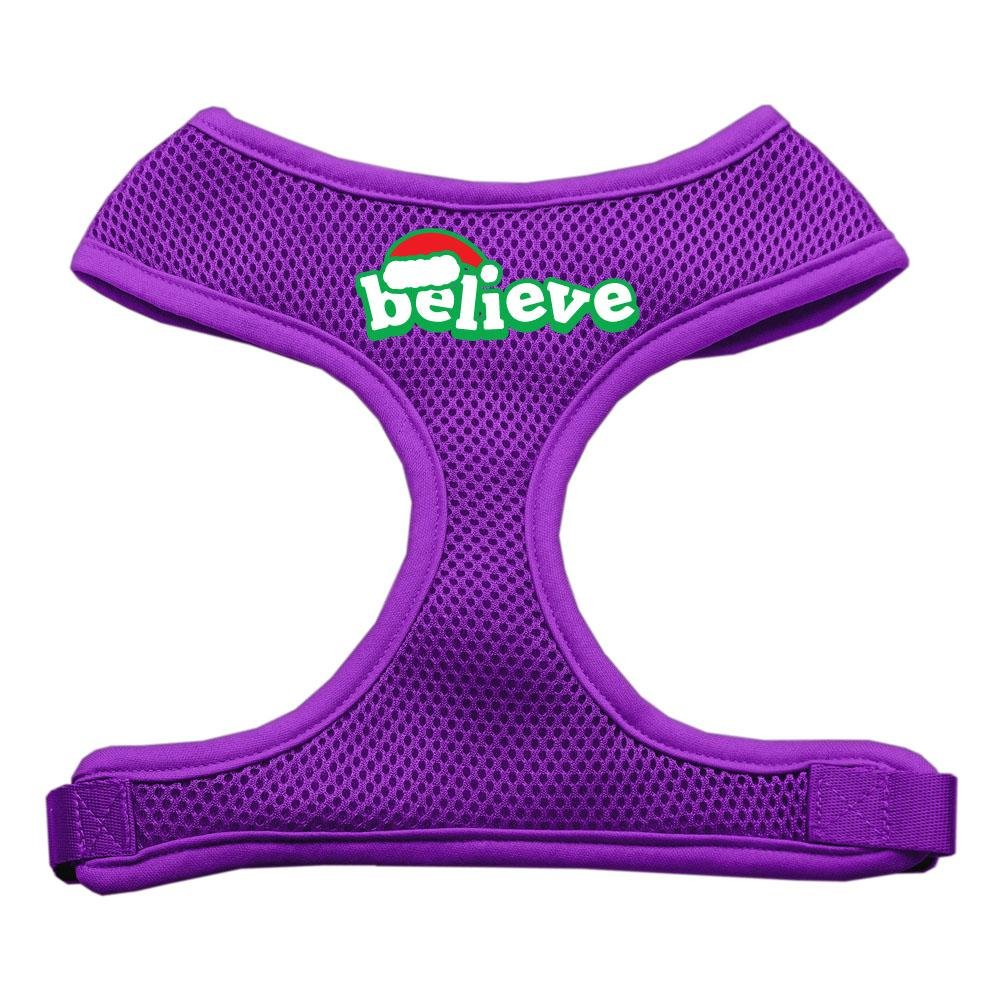 Mirage Pet Products Believe Screen Print Soft Mesh Dog Harnesses, Large, Purple