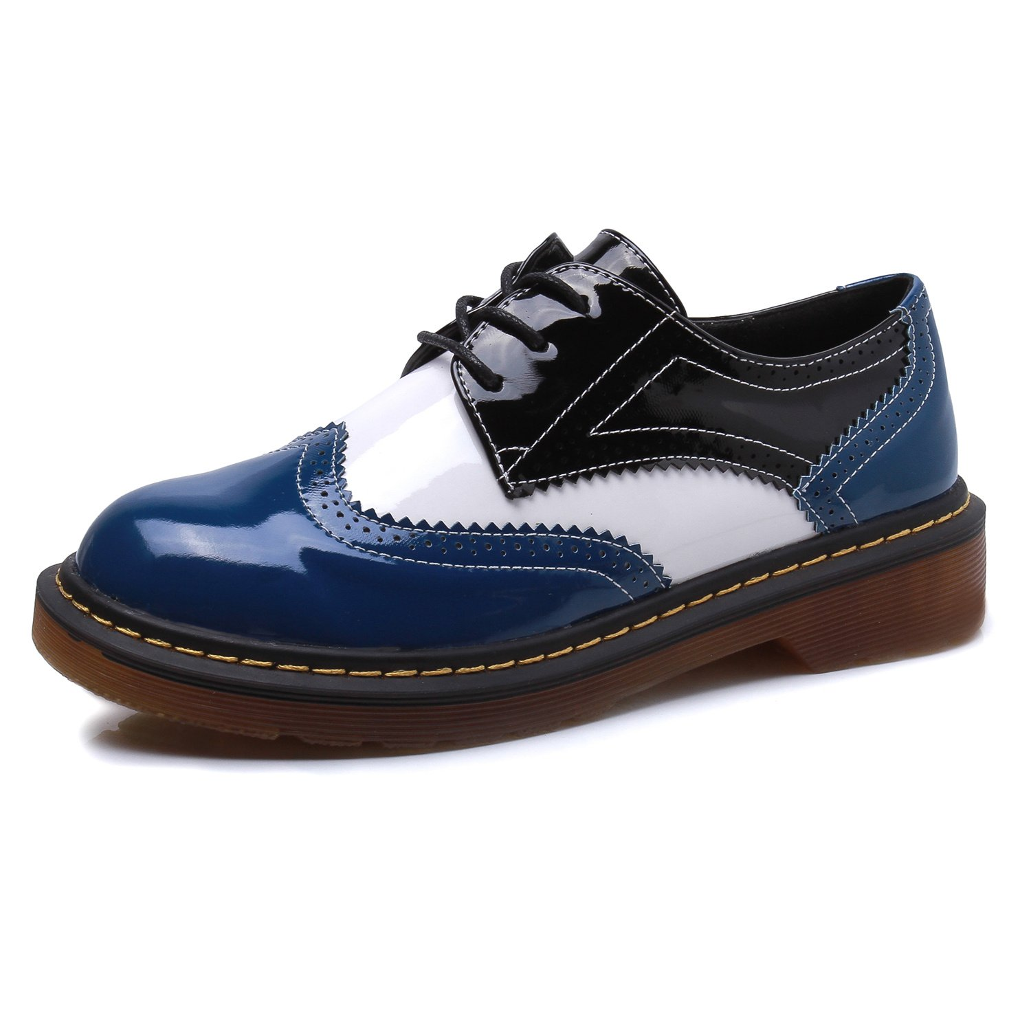 Smilun Lady¡¯s Full Brogue Derby Shoes Assorted Colours Classic Flats Shoes B01M0O6T4S 6 B(M) US|Blue