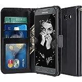 For Samsung Galaxy J3 Emerge / J3 2017 / J3 Prime / J3 Mission / J3 Eclipse / J3 Luna Pro / Sol 2 / Amp Prime 2 / Express Prime 2 Case, LK PU Leather Wallet Flip Protective Case Cover (Black)