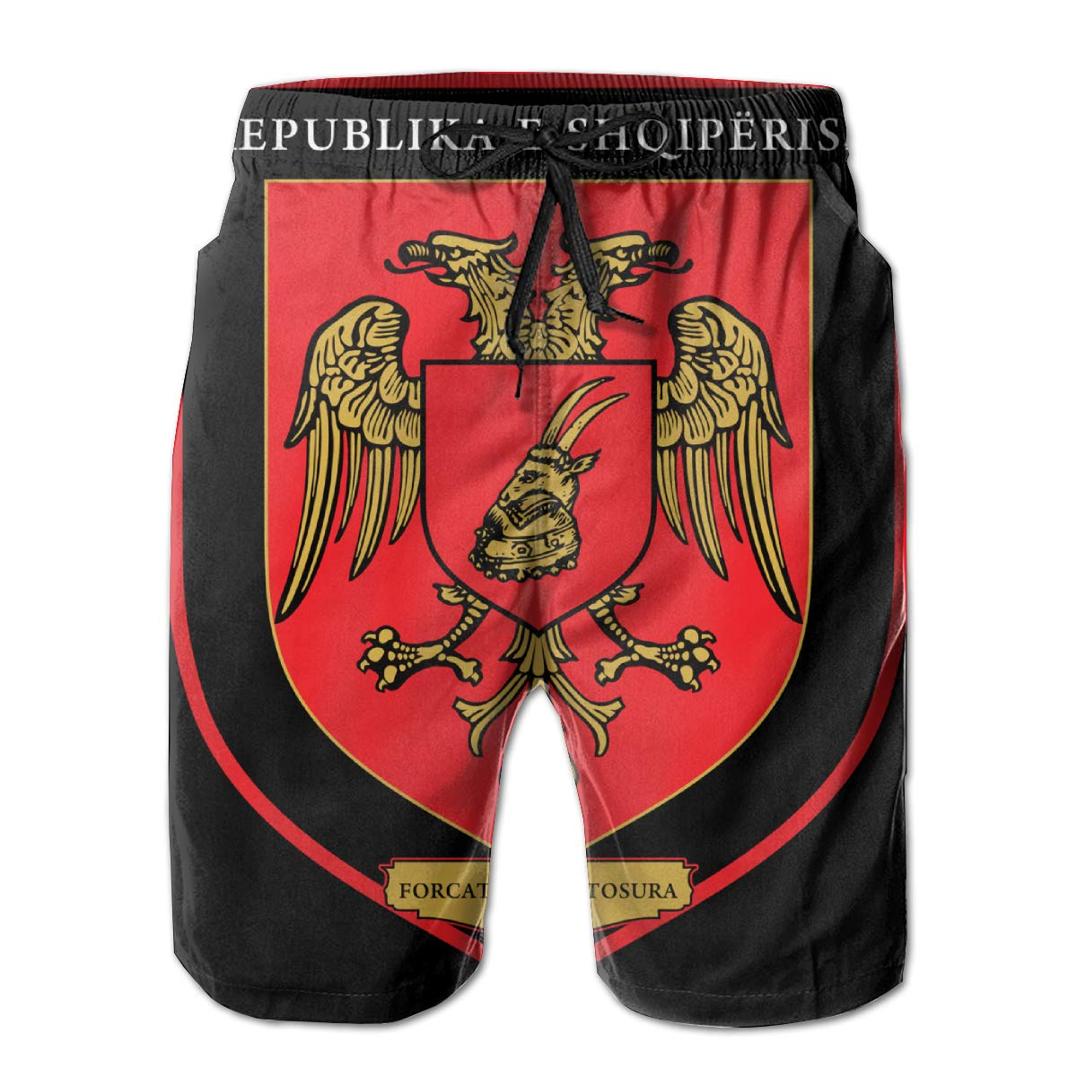 Armed Forces Albanians 3D Print Mens Beach Shorts Swim Trunks Workout Shorts Summer Shorts