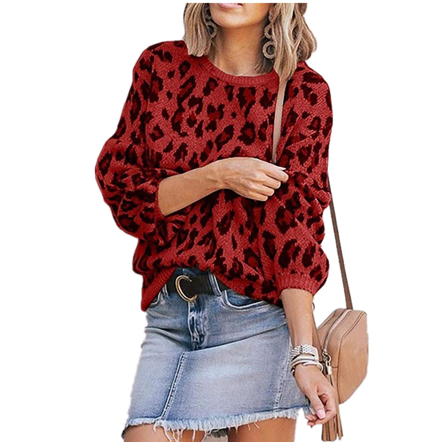 Womens Casual Leopard Printed Sweaters - Long Sleeve Sweatshirts Jumper Pullover Tops Knits Loose Blouse Red by HiSunlyan
