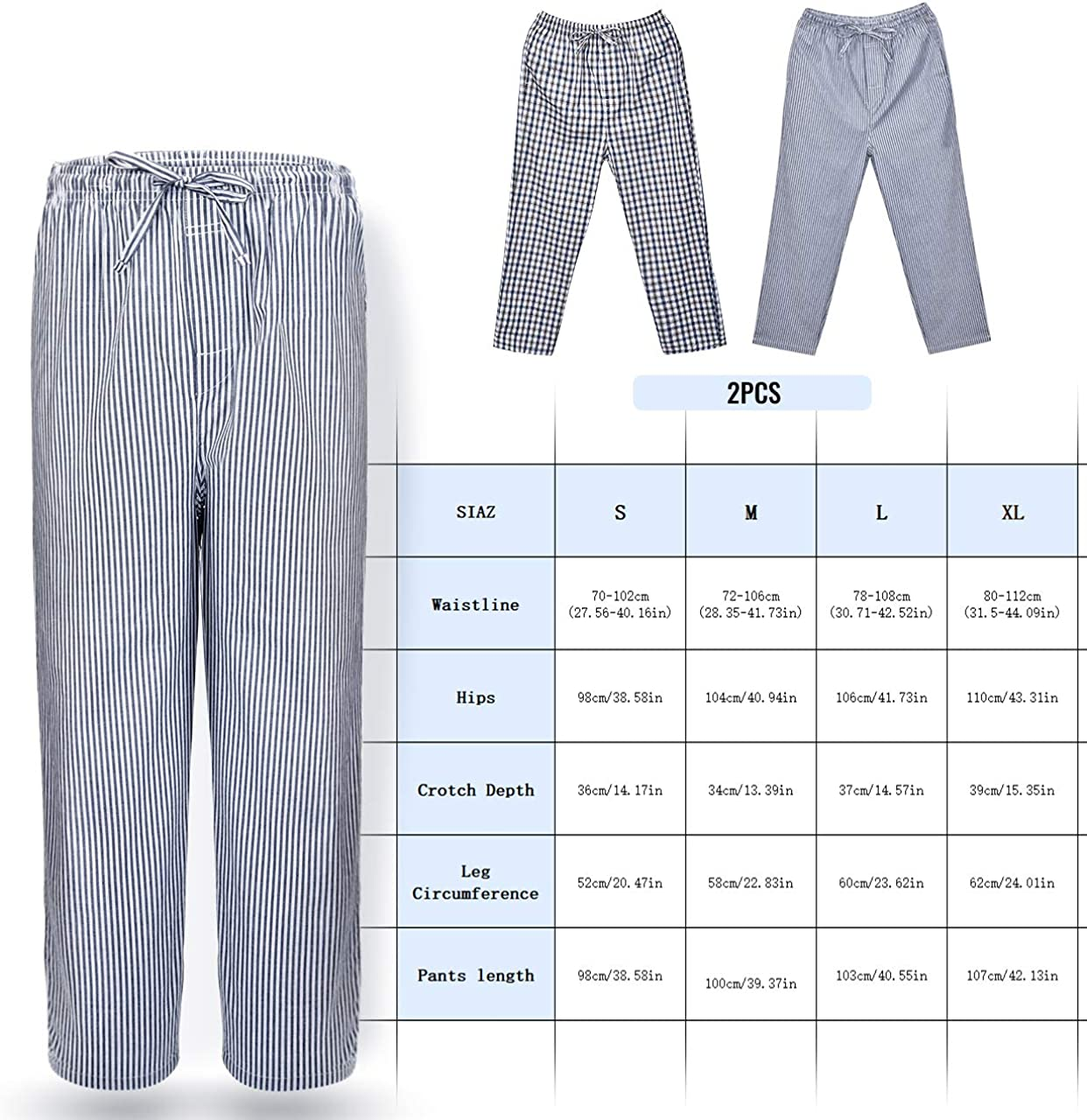 INSOUR Mens Pyjamas Pants 100/% Cotton Lounge Trouser with Drawstring Pack of 2