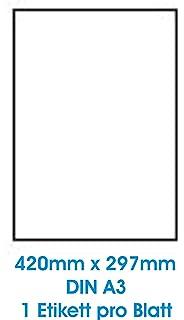 100 A3 Etikettenblatt 420 x 297 mm Klebefolie f/ür Laserdrucker und Kopierer kompatible Tinten
