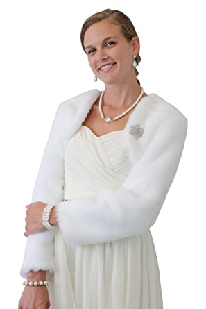 5e68dab68 Tion Bridal White Fur Jacket with Long Sleeve at Amazon Women's Coats Shop