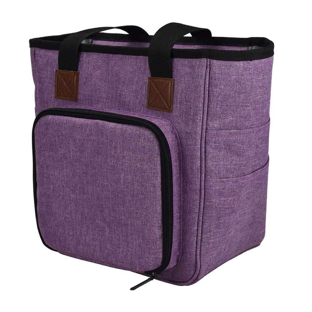 Settlede Yarn Storage Bag, Knitting Bag, DIY Knitting Tote Bag Organizer for Crochet Hooks and Supplies, Portable Knitting Yarn Storage Bag with Cover and Inner Divider - Purple