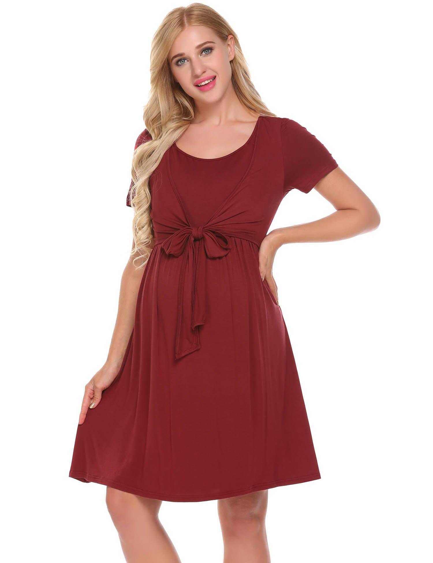 Women's Elegant Short Sleeve Wear to Work Casual Maternity Dress Nursing Nightgown