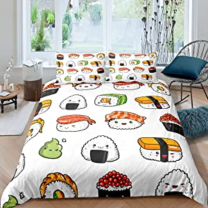 Sushi Pattern Bedding Set Japanese-Style Comforter Cover for Kids Boys Girls Teens Food Theme Duvet Cover Cute Cartoon Japanese Sushi Bedspread Cover Room Decor Quilt Cover Twin Size
