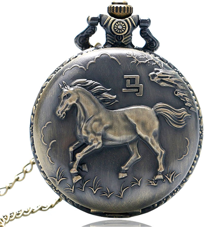 LWCOTTAGE Reloj De Bolsillo De Cuarzo - Estilo Chino Bronce Serie del Zodiaco Chino Diseño Reloj De Bolsillo De Cuarzo Reloj Animal Collar Colgante Regalo Cadena De Reloj Antigua