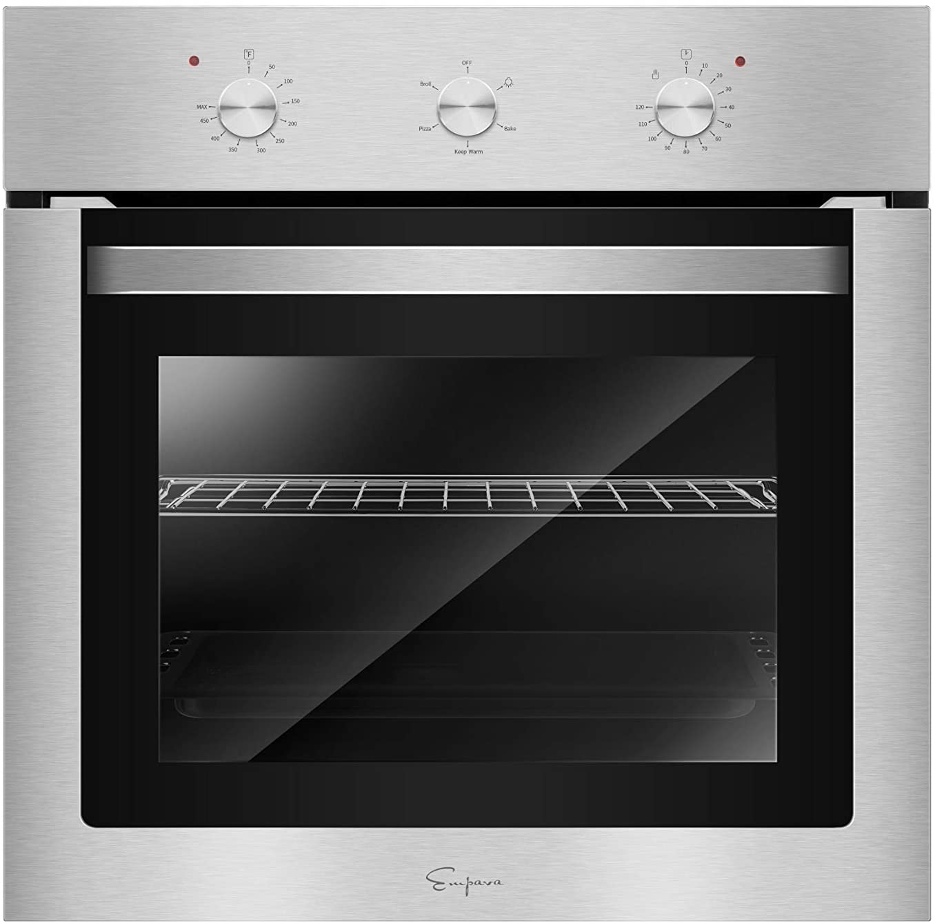 Empava 24 in. Electric Single Wall Oven with Basic Broil/Bake Functions Mechanical Knobs Control in Stainless Steel Model 2020, A01, Black