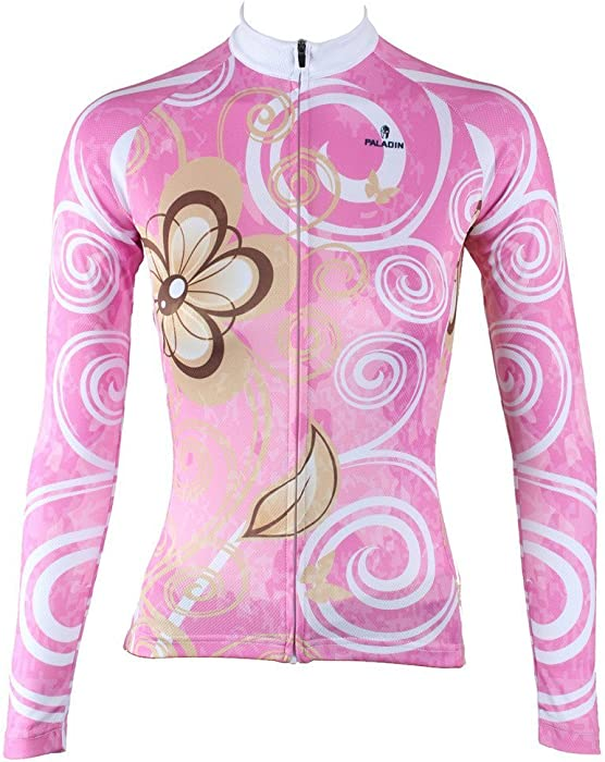 7f15dd9dc Amazon.com  QinYing Pink Flowers Printing Women Long Sleeves Cycling ...
