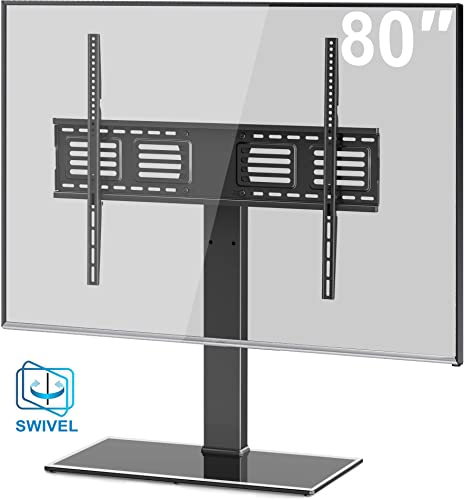 FITUEYES Universal TV Stand Base Swivel Tabletop TV Stand with Mount for 50 to 80 inch Flat Screen TV 100 Degree Swivel, 4 Level Height Adjustable,Tempered Glass Base,Holds up to 143 lbs Screens