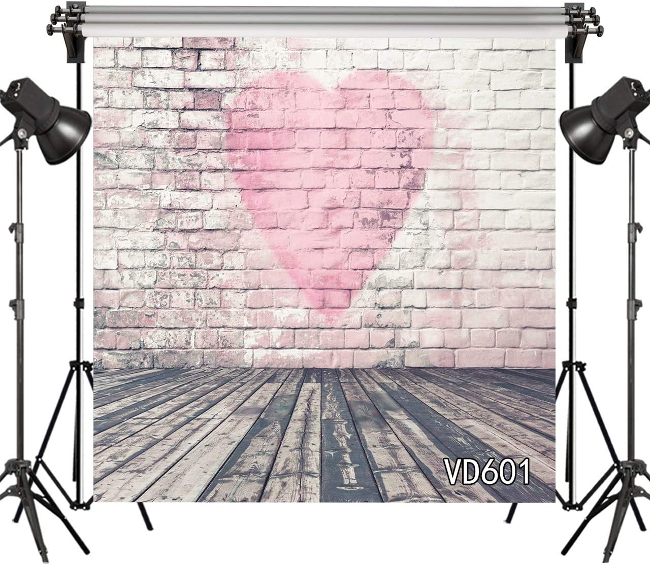 LB Rustic Wood Floor Valentines Day Backdrops 10x10ft Vinyl Pink Love Heart on The Brick Wall Photo Backdrops Customized 80s 90s Photo Background Studio Props